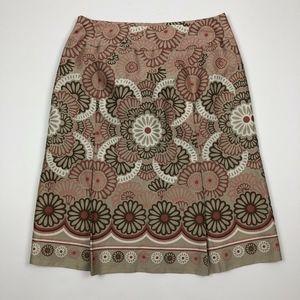 LOFT Beige Red Floral Print A-Line Side Zip Skirt